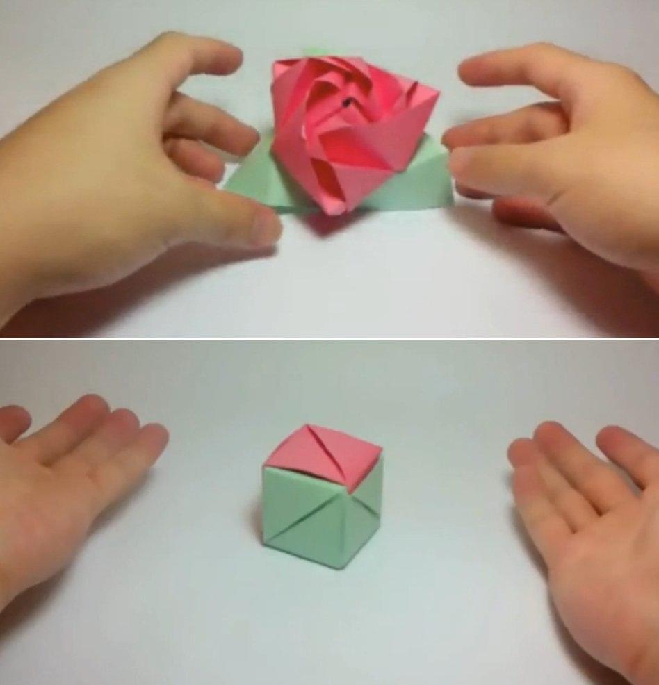 Origami cubo rosa manualidades de papel - Como hacer un estor enrollable paso a paso ...
