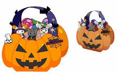 Papercraft imprimible y armable de una cesta de caramelos para Halloween. Manualidades a Raudales.