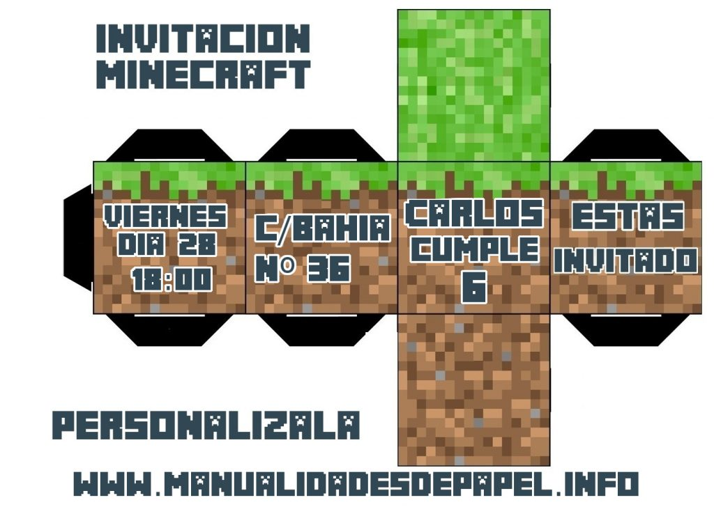 invitacion minecraft personalizable