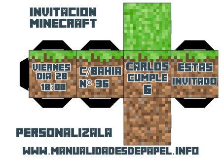 invitacion minecraft personalizable